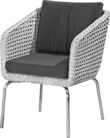 4so luton dining chair with 2 cushions pearl