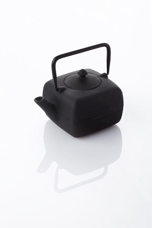 point-virgule gietijzeren theepot met zeef vierkant zwart