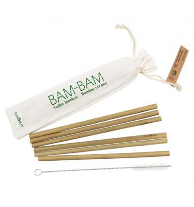 cookut bambam bamboe rietjes (6sts) en reinigingsborstel