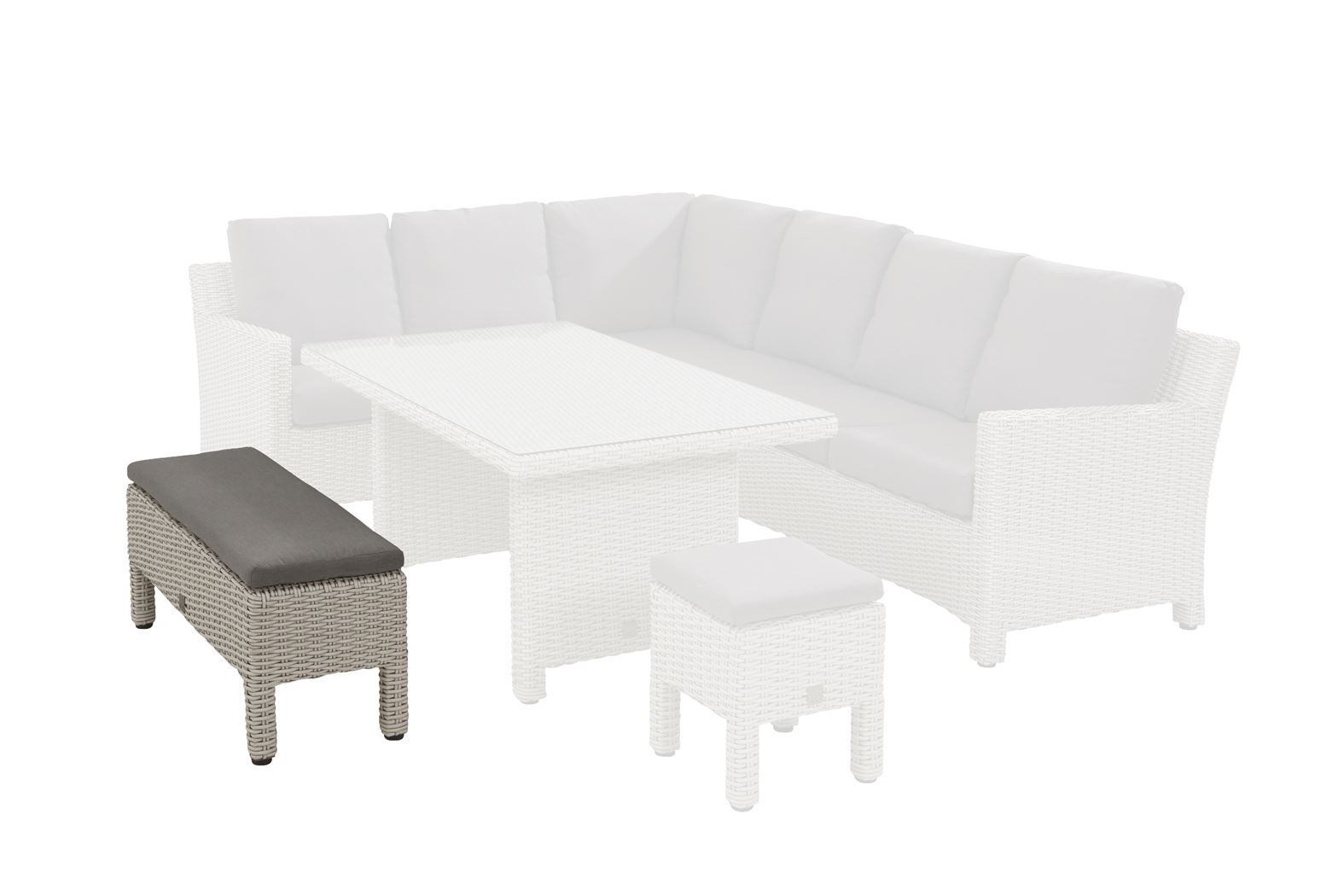 4so adora cosy dining bench (big stool) with cushion frost