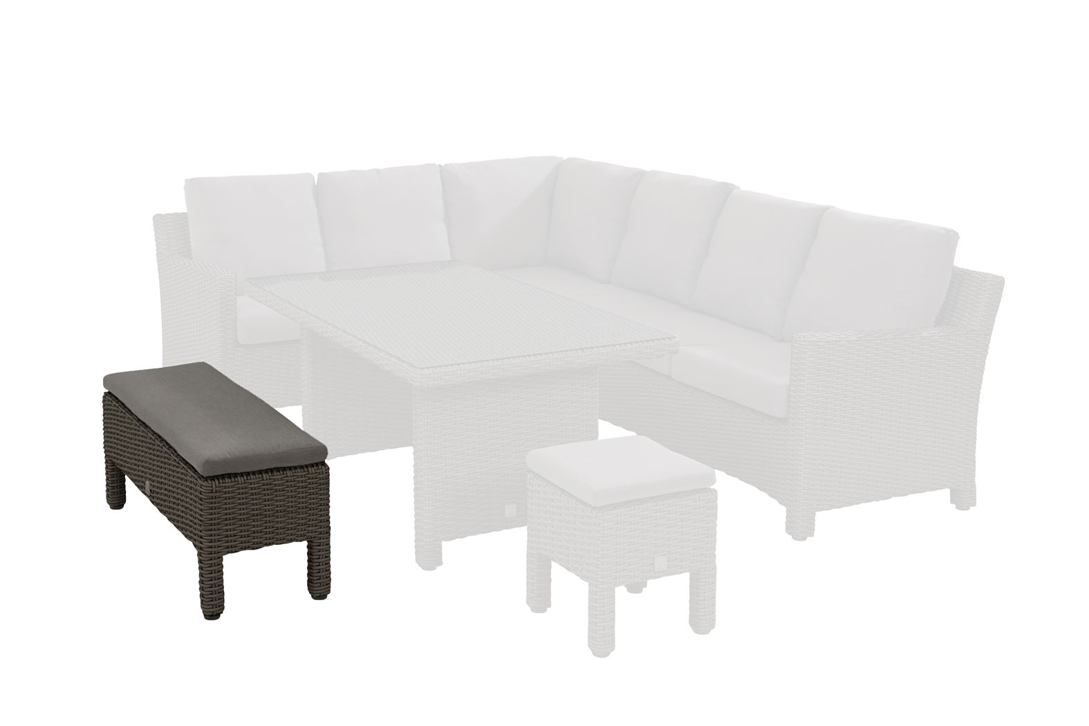 4so adora cosy dining bench (big stool) with cushion nero