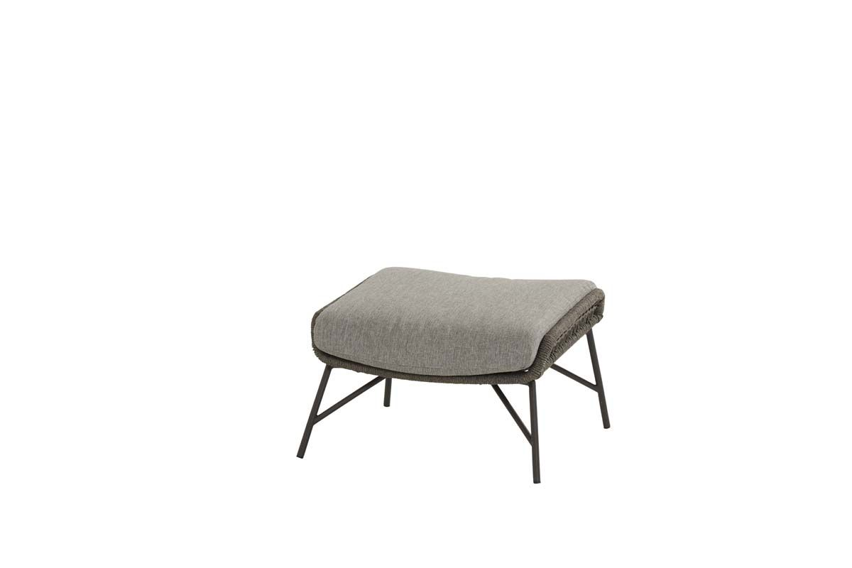 4so babylon footstool mid grey knotted with cushion