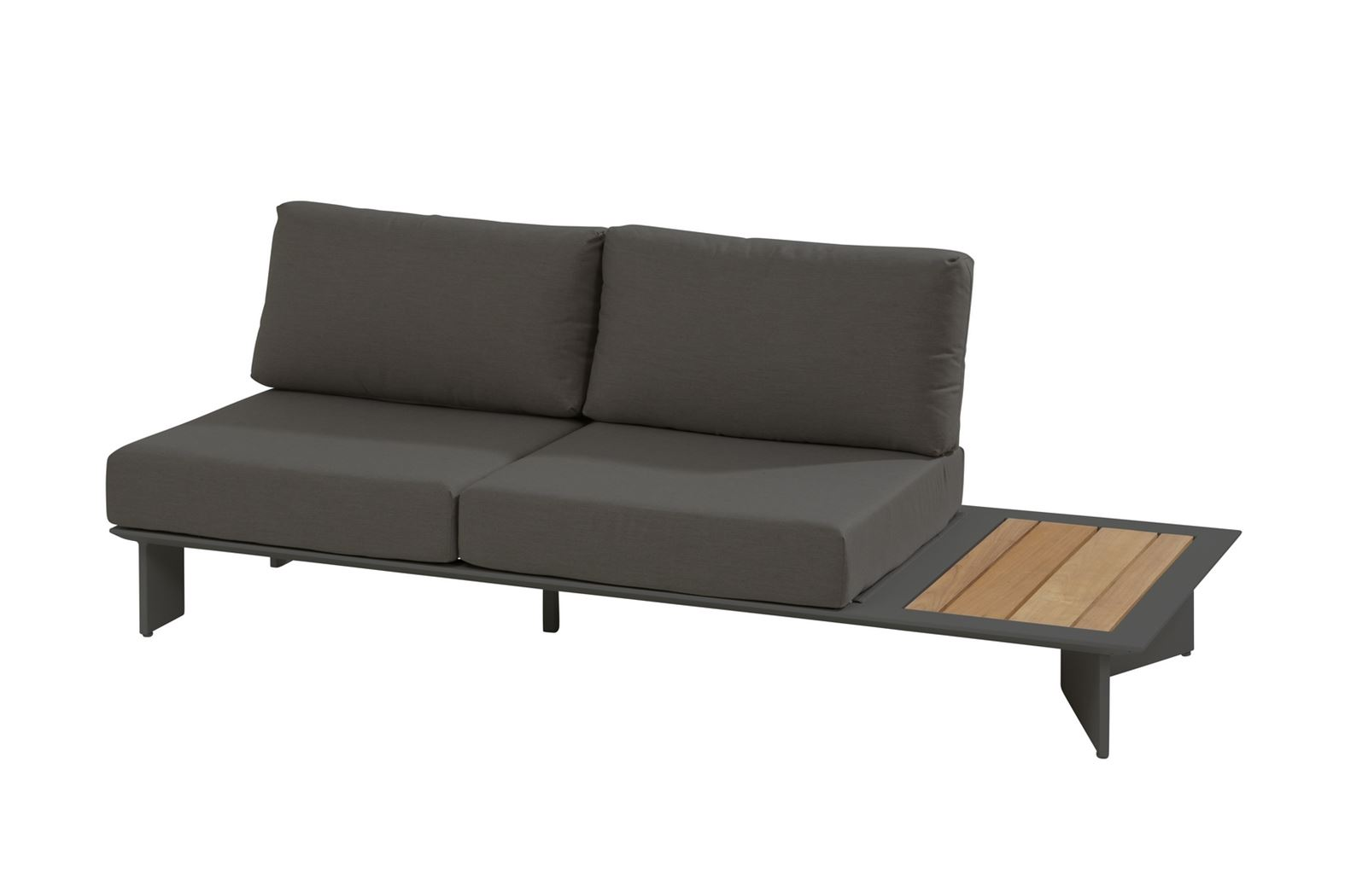 4so lovina platform 2.5 seater l with teak with 4 cushions matt carbon