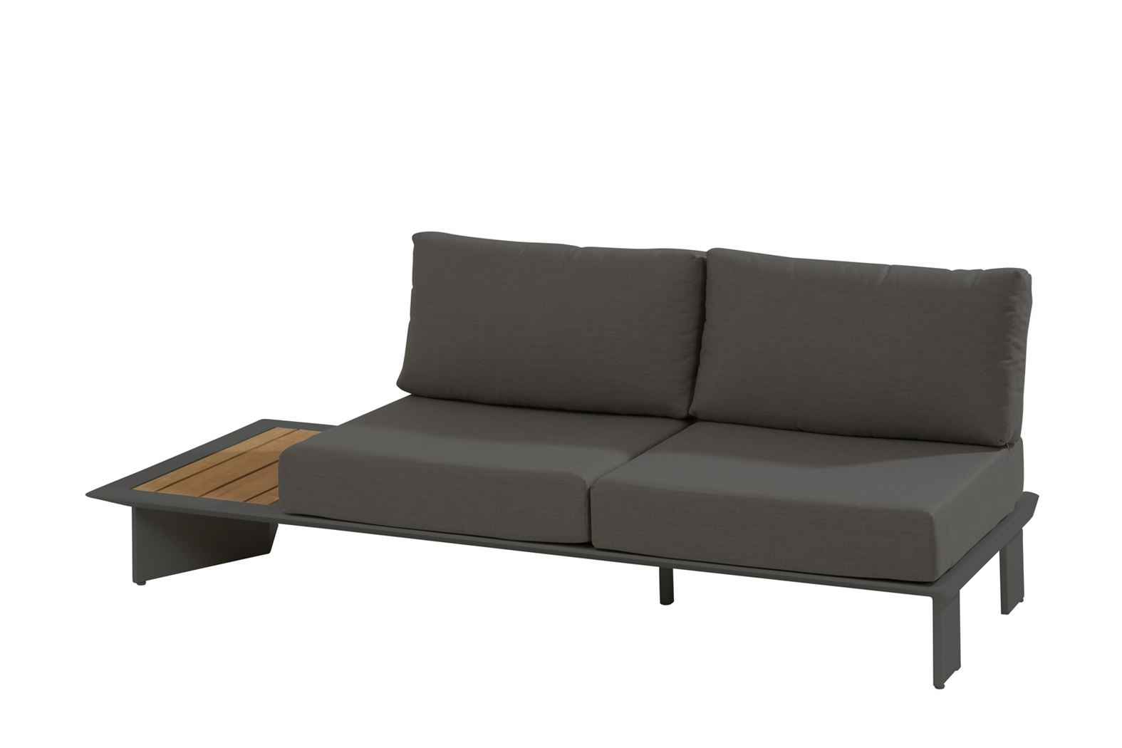 4so lovina platform 2.5 seater r with teak with 4 cushions matt carbon