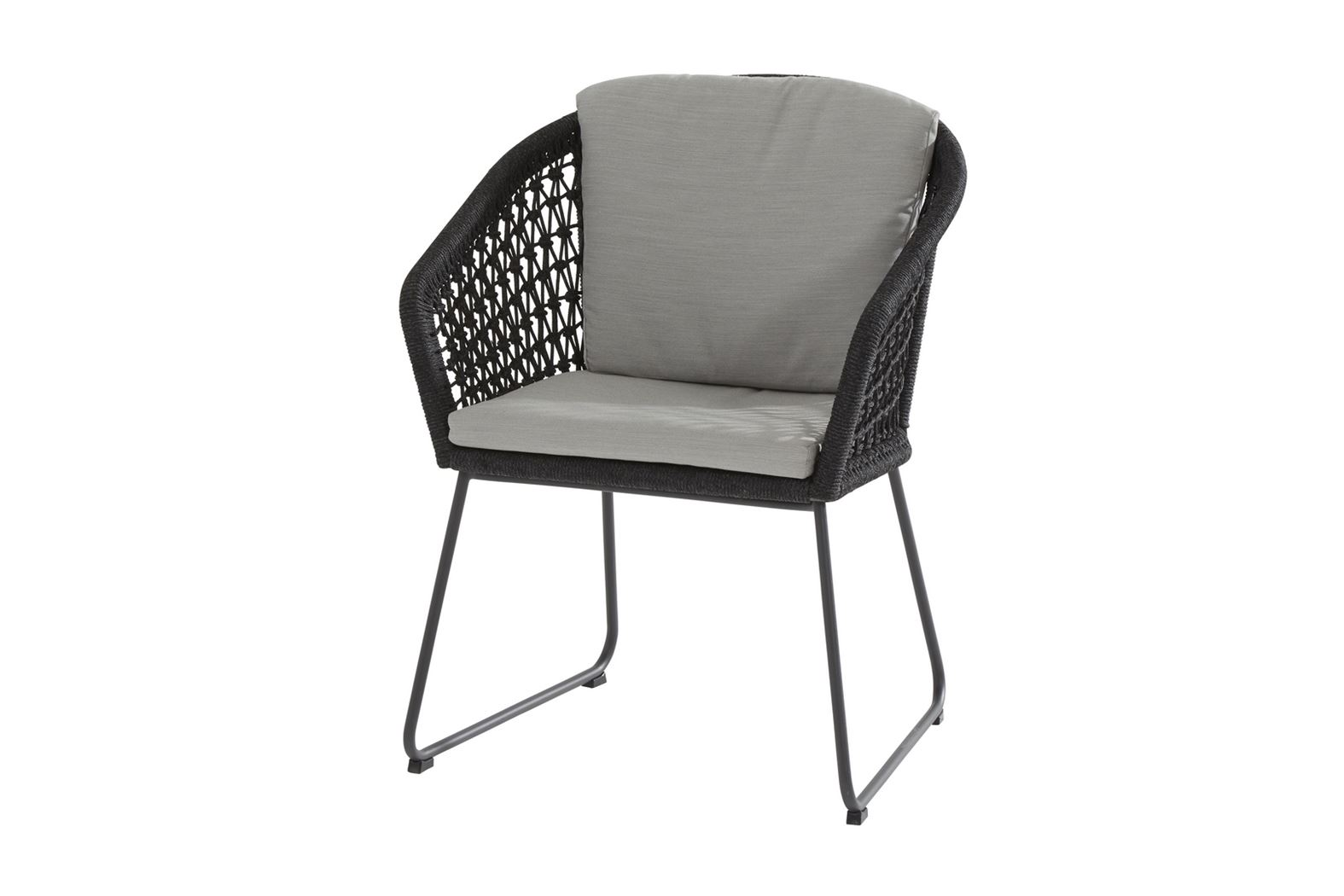 4so mila dining chair stainless steel anthracite rope with 2 cushions knotted rope
