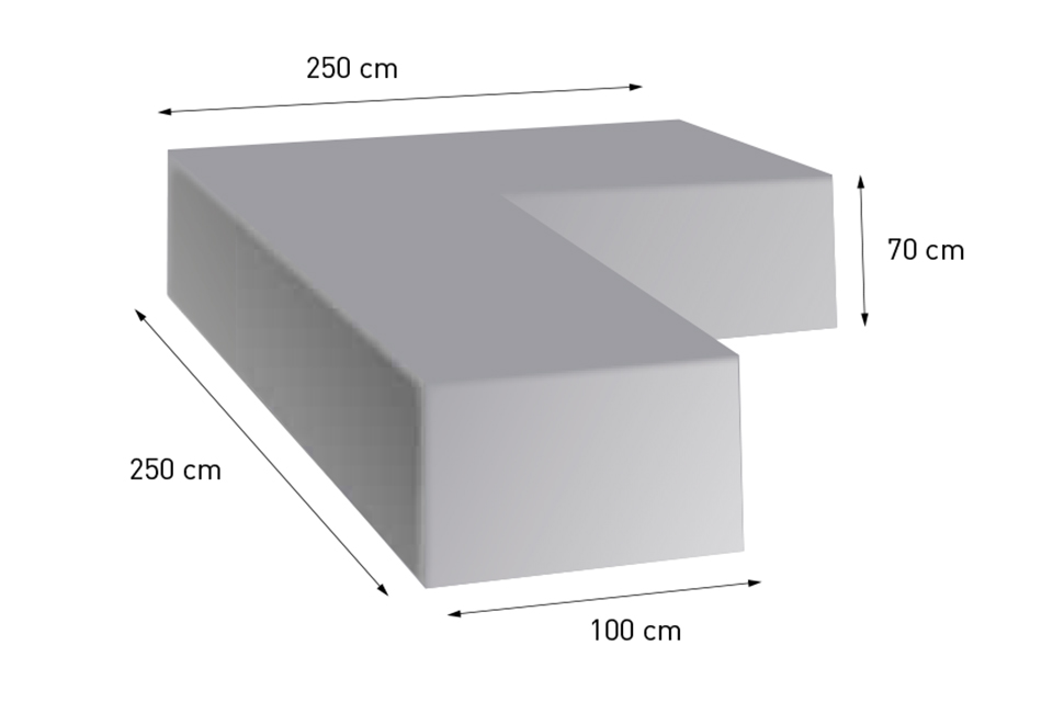 4so polyester cover corner 250 x 250 x 70 (d 100)