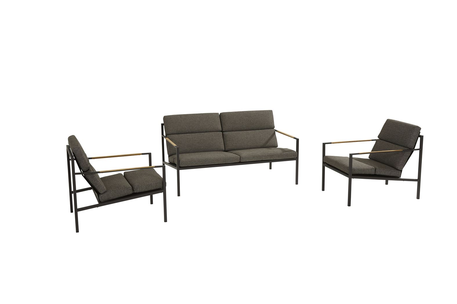 4so trentino living set : 2 x living chair + 2.5 seater bench