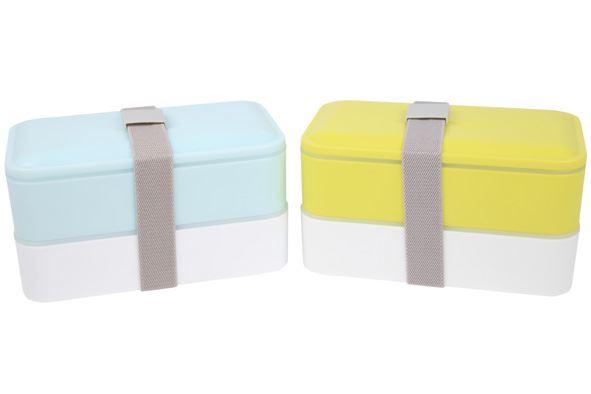 c&t lunchbox met grijze band met bestek 2-delig (2 kleuren ass.)