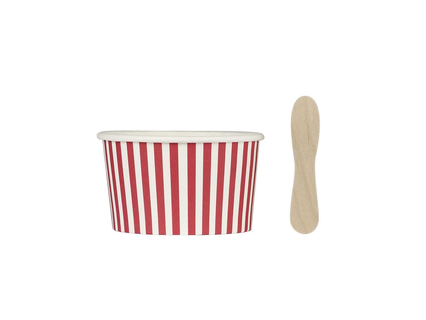 ijspotjes met houten lepeltjes candy stripes (12sts)
