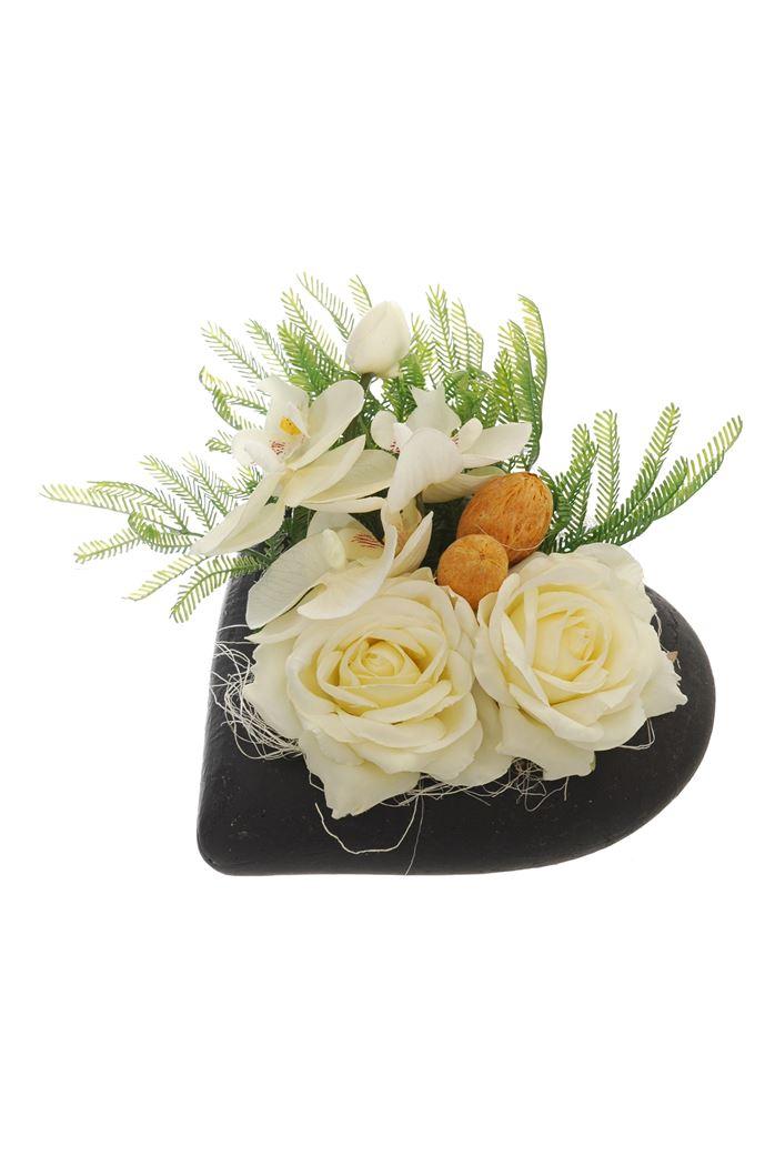 rose/orchid arrangement in heart pot cream