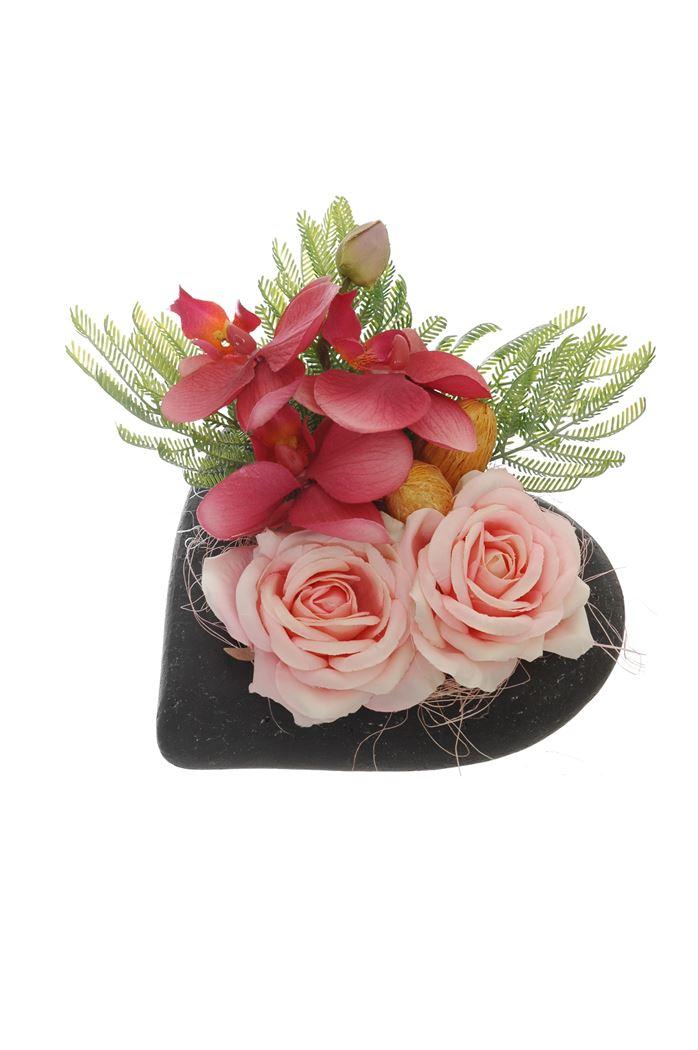 rose/orchid arrangement in heart pot pink