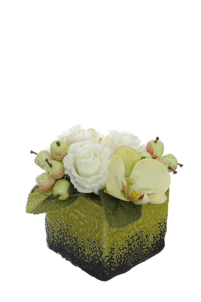 rose/orchid/berry arrangement in pot