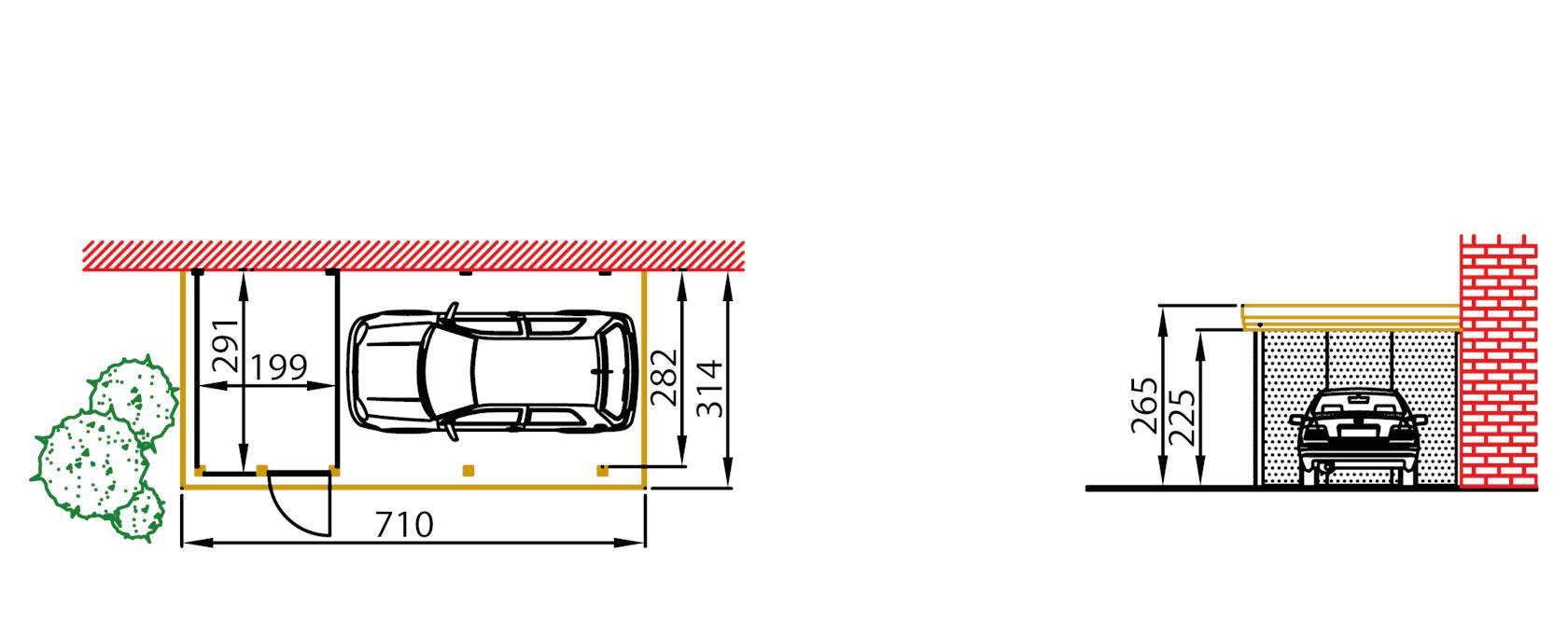 aanbouwcarport grenen a410 + berging