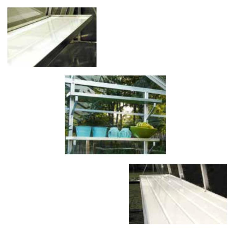 acd optimalisatiepakket voor serres in aluminium (werktafel, ahs schap en set van 2 schappen)