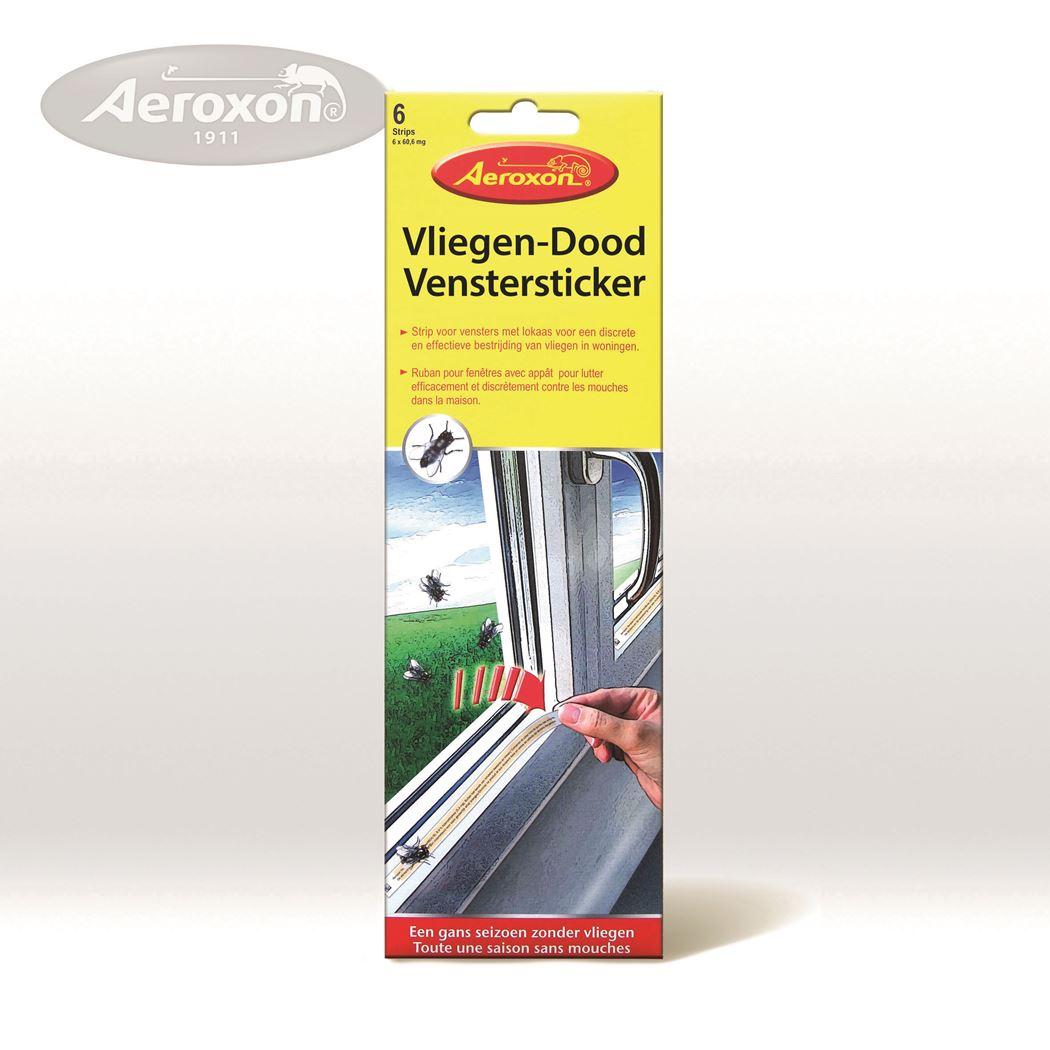 aeroxon vliegen-dood venstersticker (strip) (6sts)