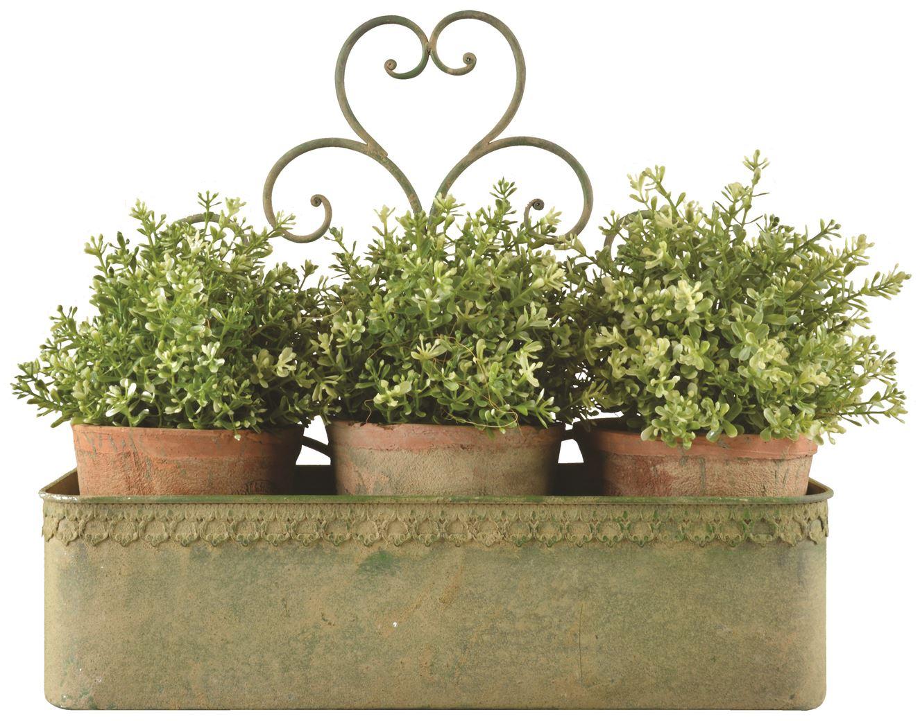 aged metal green wandplantenbak l