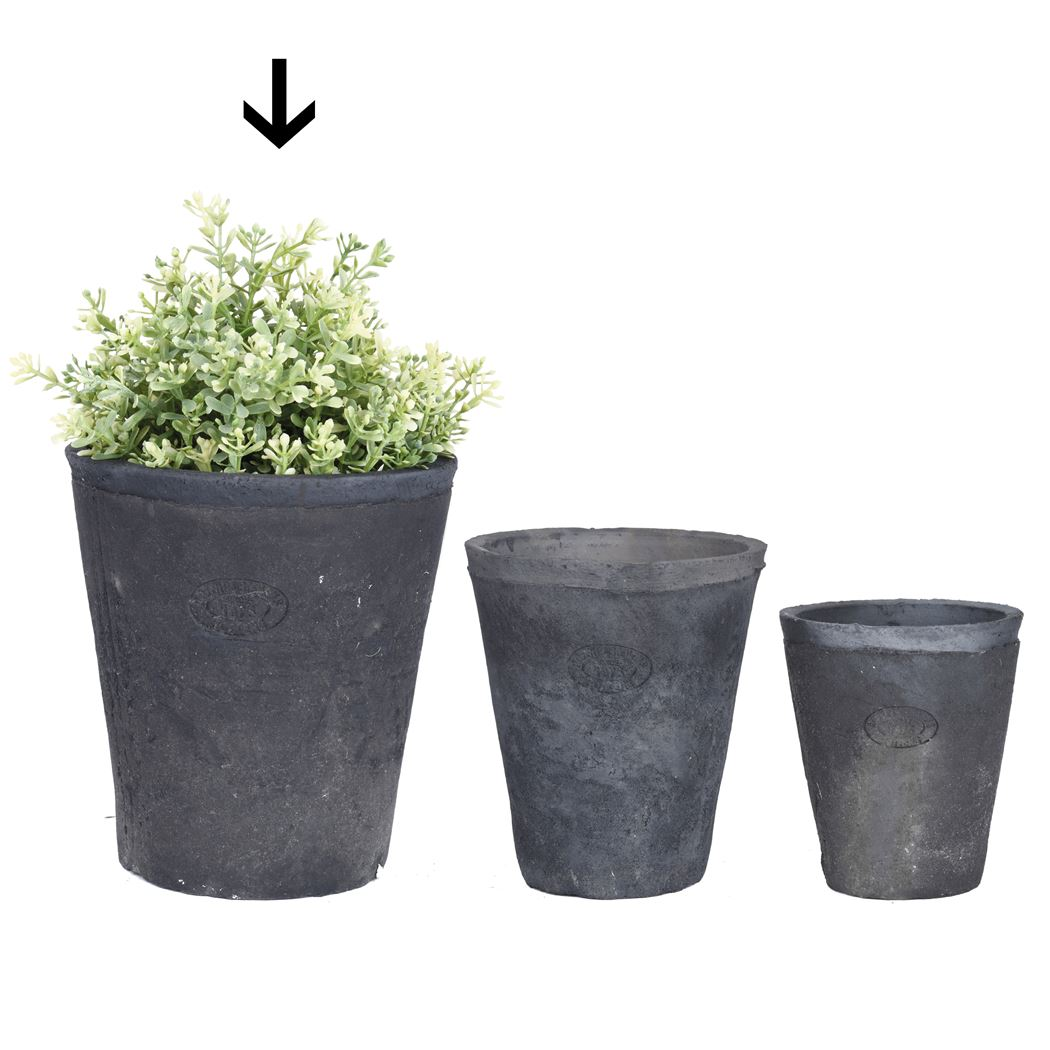 aged terracota grijs pot rond l