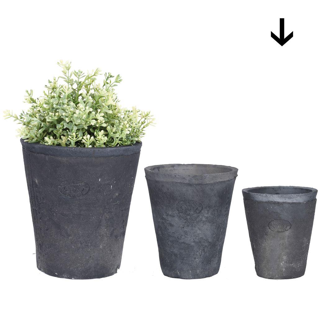 aged terracota grijs pot rond s