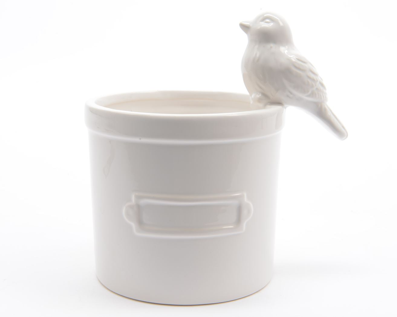 aw planter met vogel wit