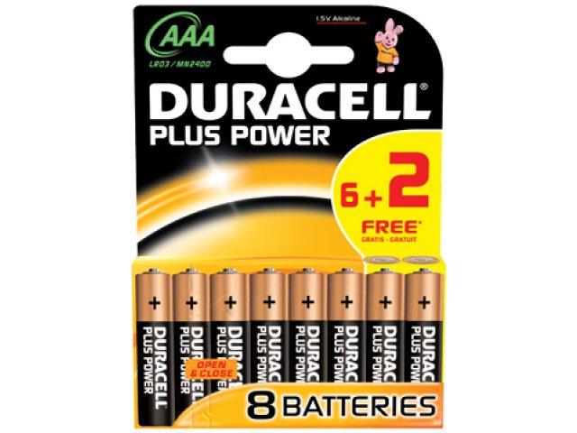 batterij duracell plus power aaa lr03 (6+2sts)