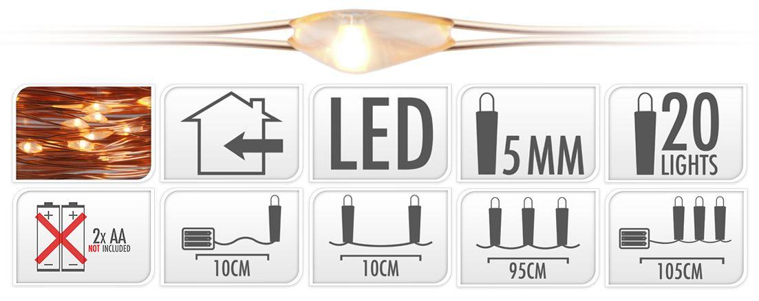 batterijverlichting koperdraad led warmwit (b/o)