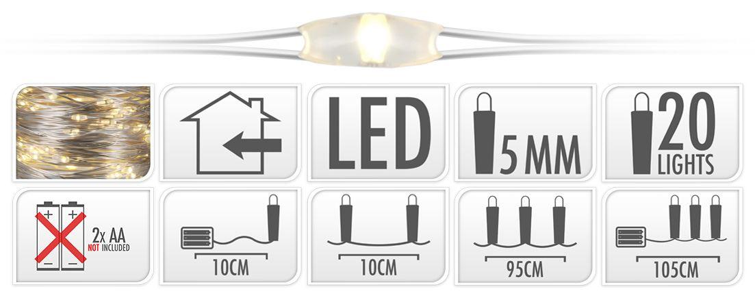 batterijverlichting zilverdraad led warmwit (b/o)