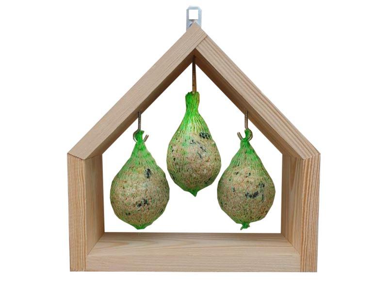 benelux mezenbolhouder in huisvorm voor 3 mezenbollen