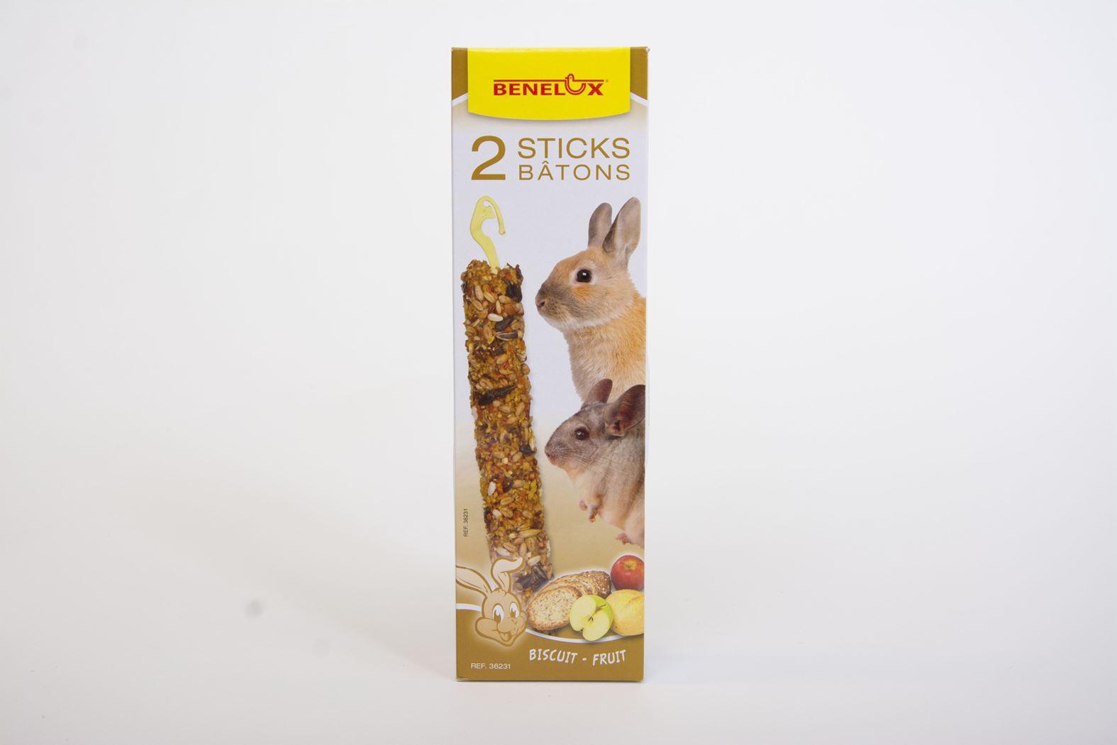 benelux sticks xxl knaagdier biscuit/fruit (2sts)