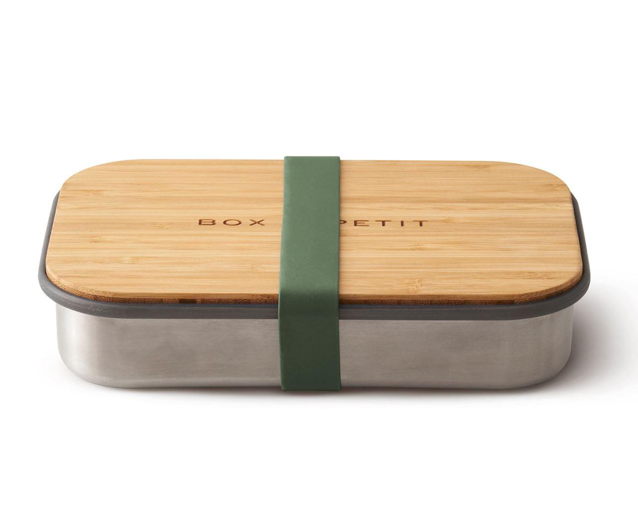 black+blum on the go lunchbox in roestvrij staal met bamboe deksel olive