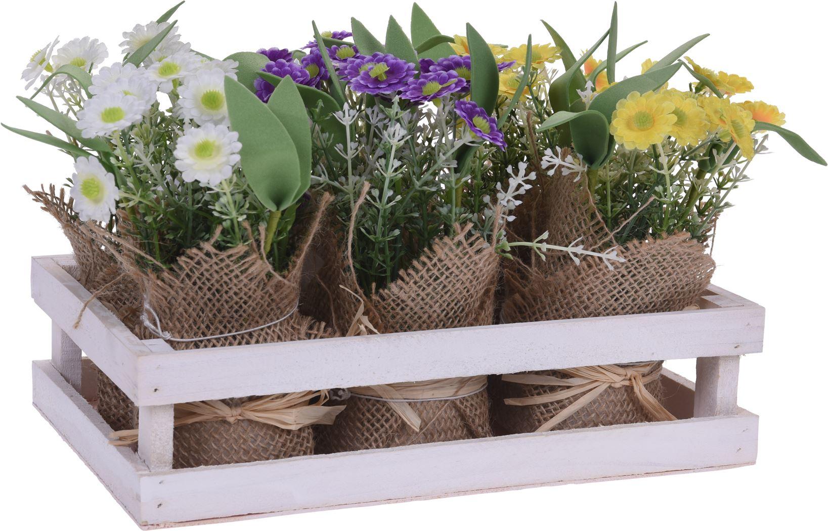 bloemen in kistje (3 kleuren ass.)