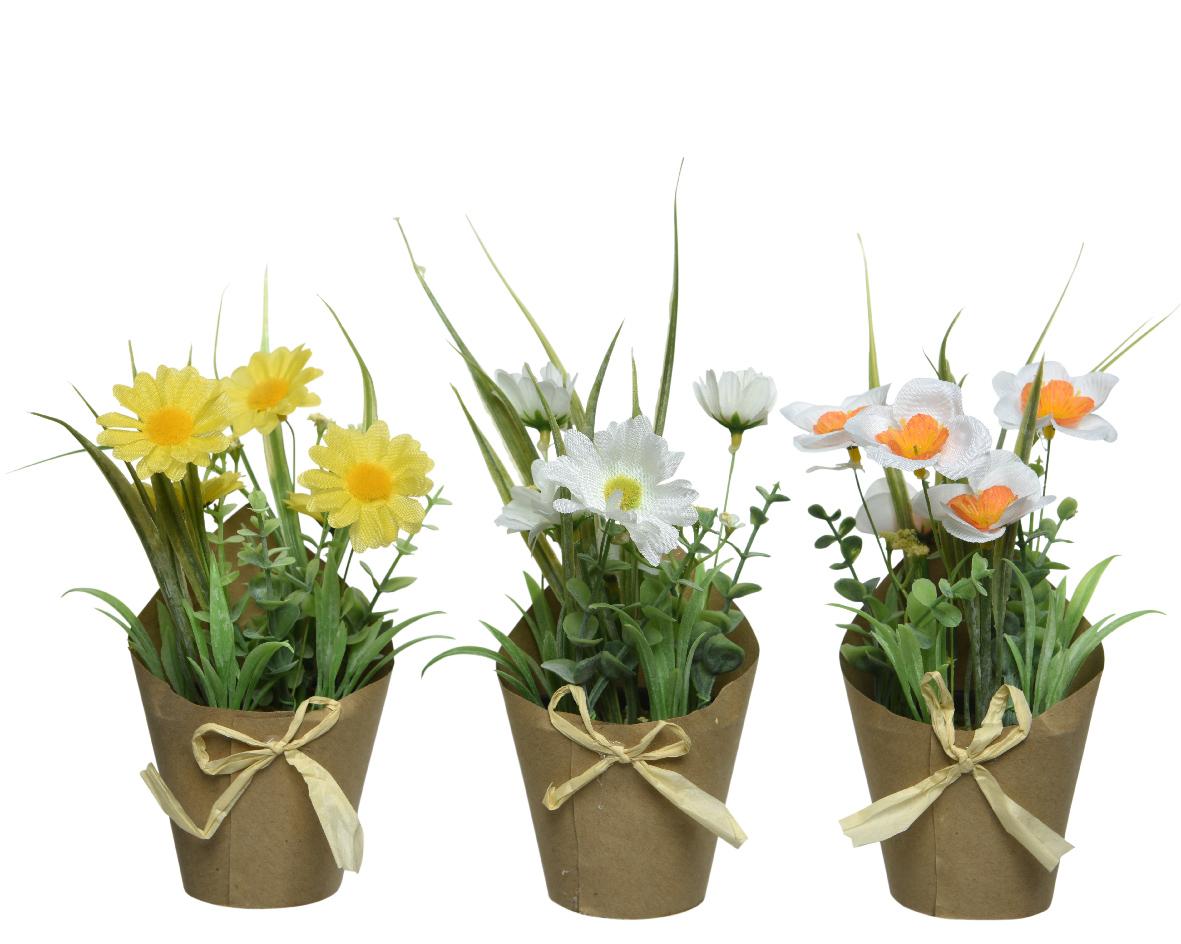 bloemen pes tas papier groen/kleur (3ass.)