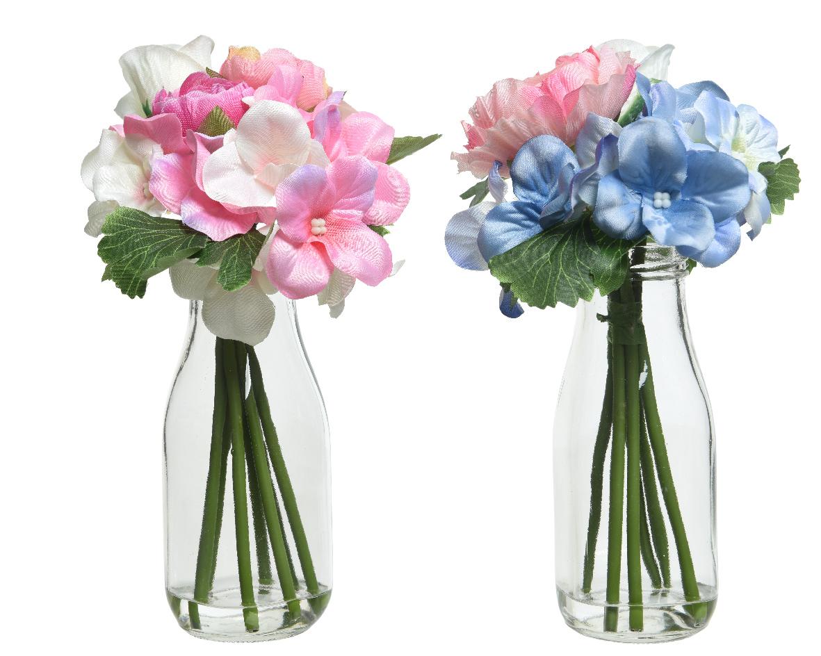 bloemen pes vaas glas (2 kleuren ass.)