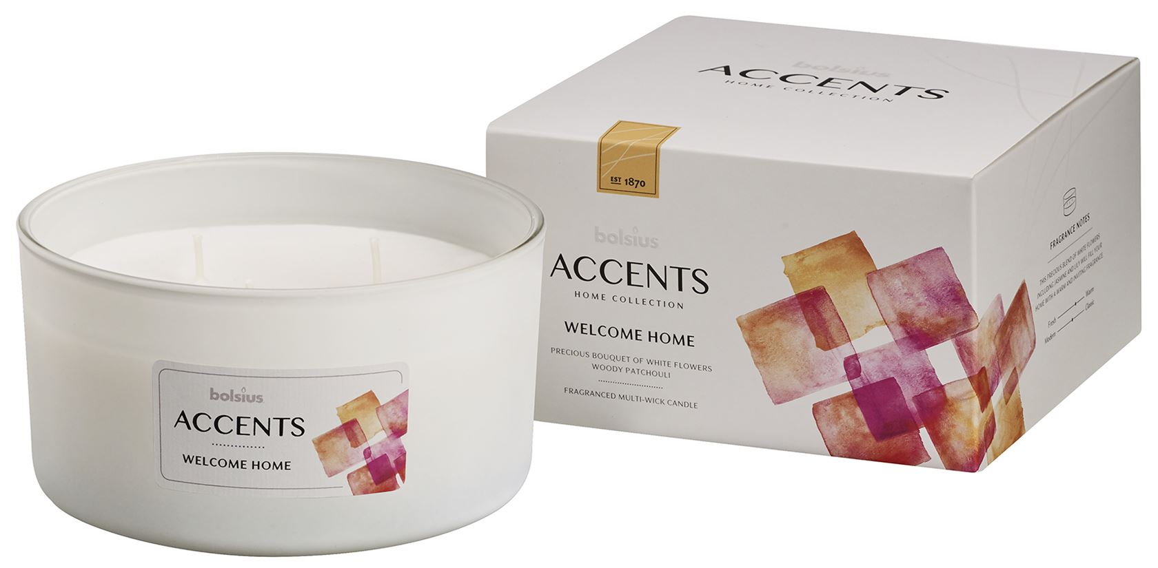 bolsius accents scented glass multiwick welcome home