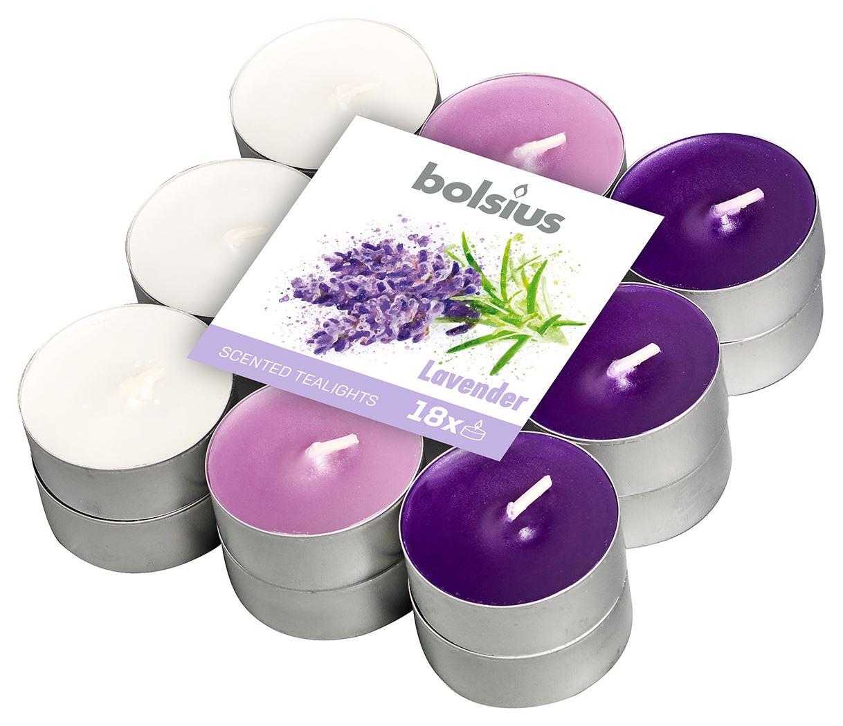 bolsius geurtheelicht 4-uur meerdere kleuren - lavendel (18sts)