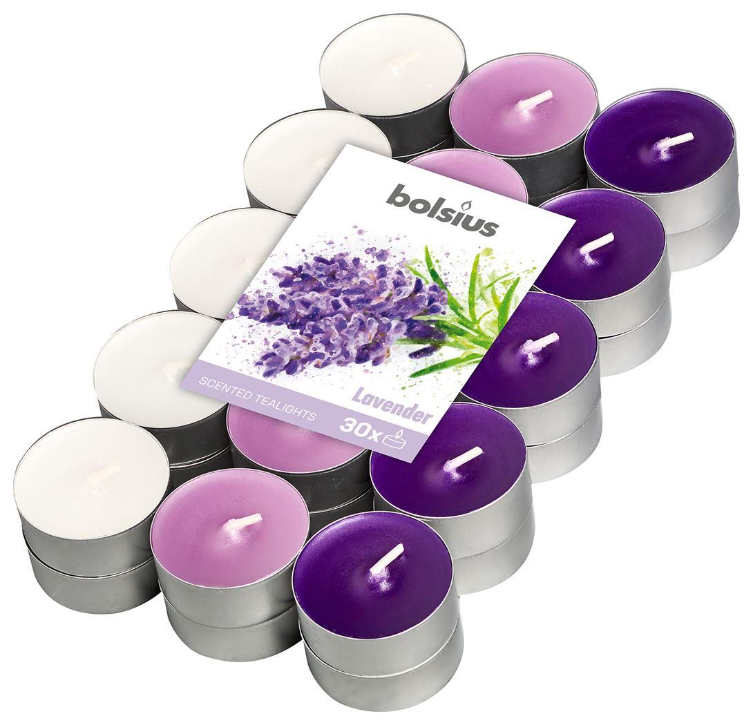 bolsius geurtheelicht 4-uur meerdere kleuren - lavendel (30sts)
