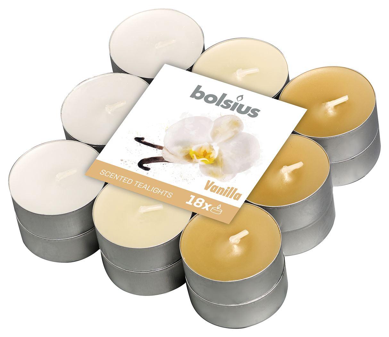 bolsius geurtheelicht 4-uur meerdere kleuren - vanille (18sts)