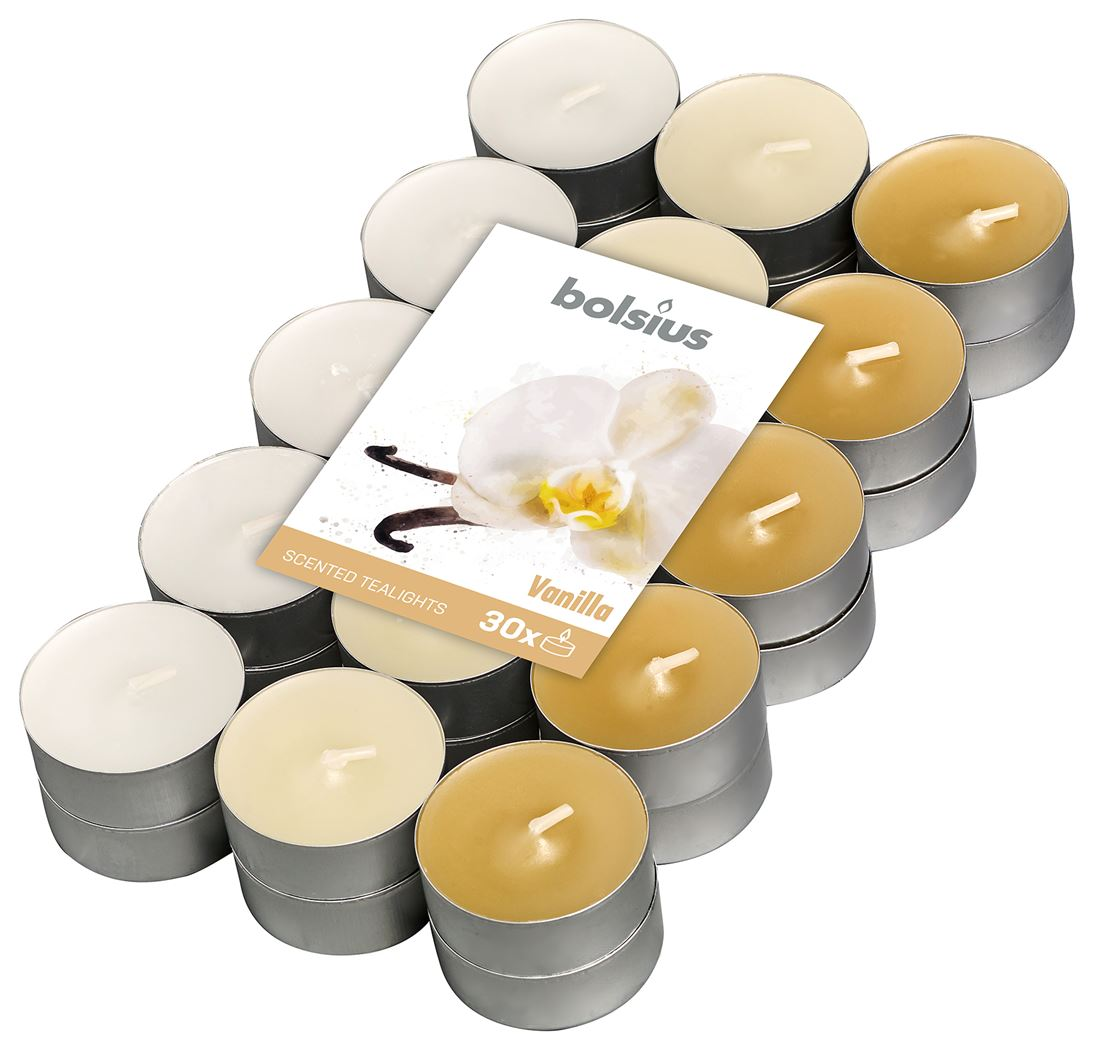 bolsius geurtheelicht 4-uur meerdere kleuren - vanille (30sts)