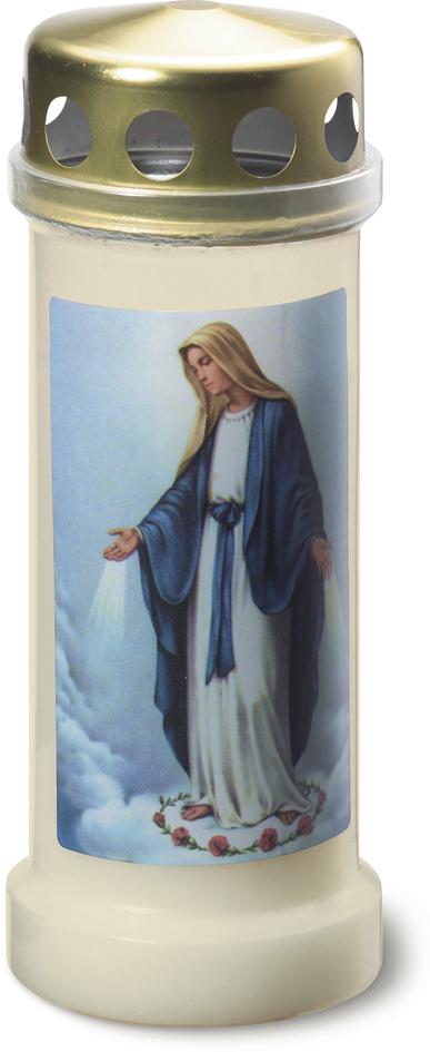bolsius herdenkingslicht nr.6 met deksel en afbeelding maria transparant