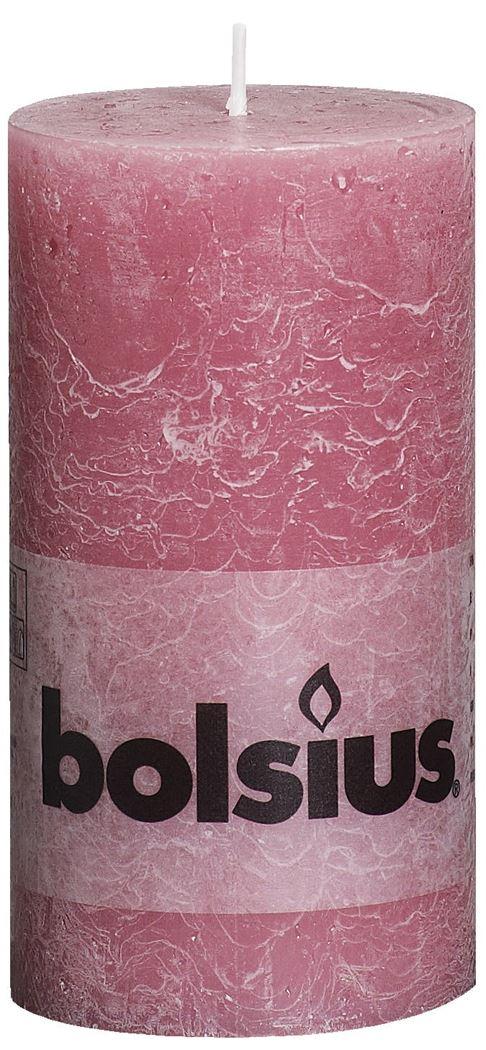 bolsius rustiek stompkaars oud roze