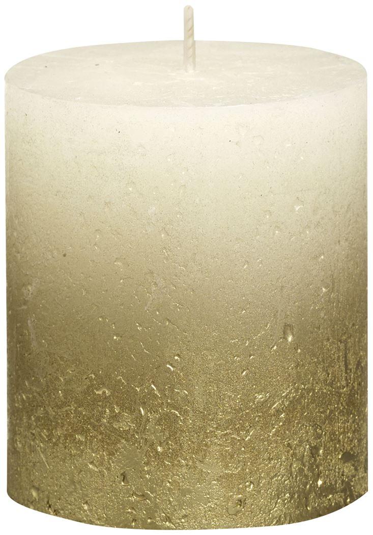 bolsius rustieke stompkaars fading metallic goud ivoor