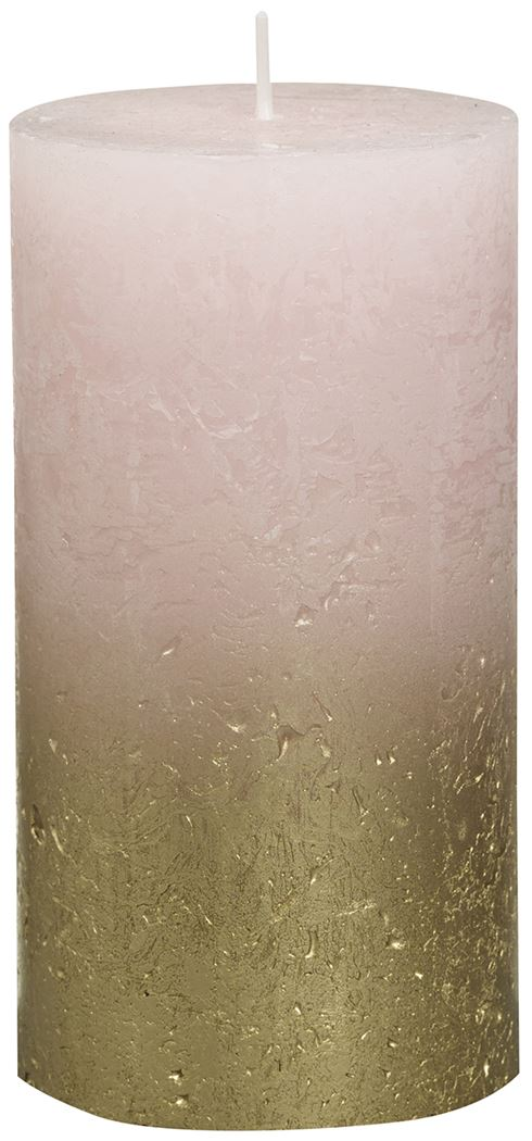 bolsius rustieke stompkaars fading metallic goud pastel roze