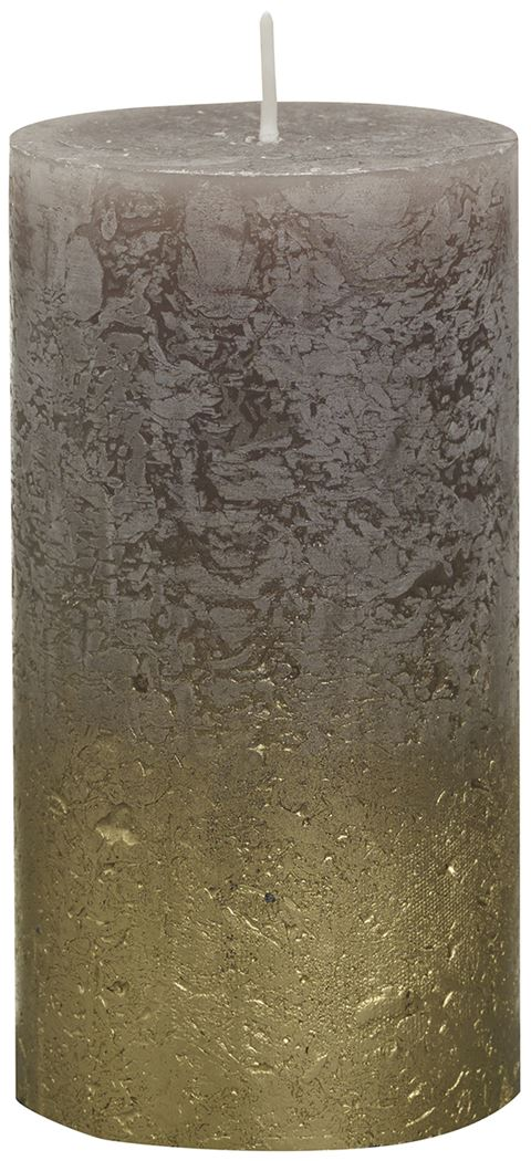 bolsius rustieke stompkaars fading metallic goud taupe