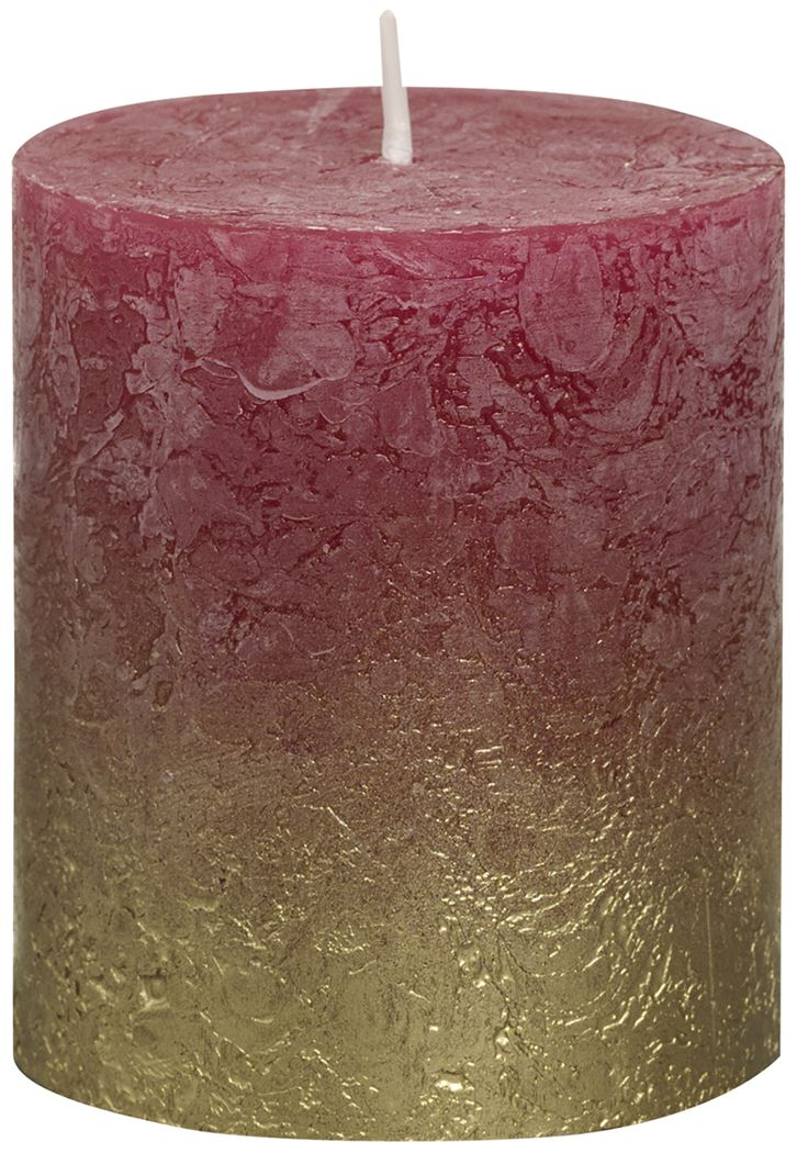 bolsius rustieke stompkaars fading metallic goud wijnrood
