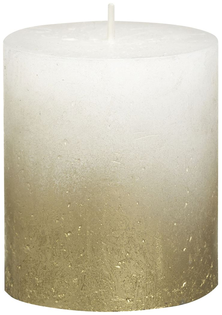 bolsius rustieke stompkaars fading metallic goud wit