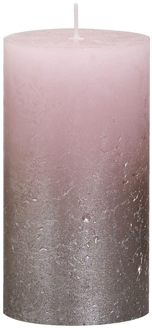 bolsius rustieke stompkaars fading metallic champagne pastel roze