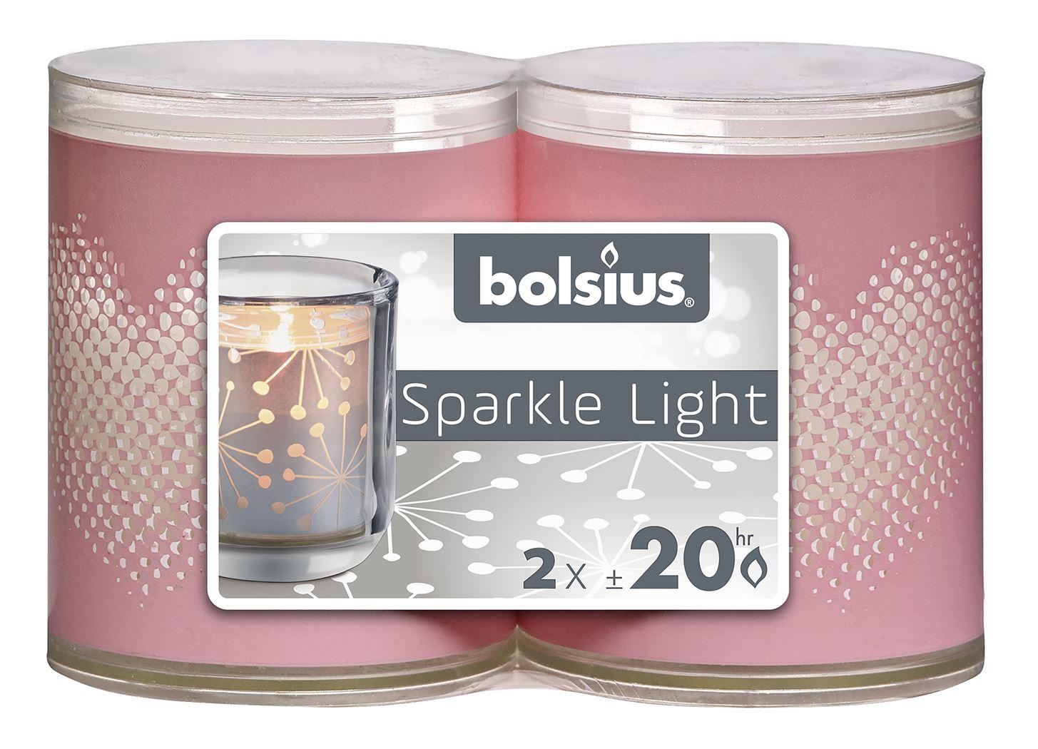 bolsius sparkle light heart roze - wit (2sts)