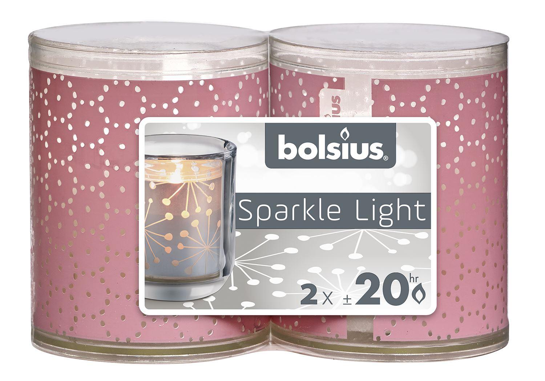 bolsius sparkle light lace roze - wit (2sts)