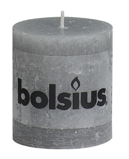 bolsius rustiek stompkaars licht grijs