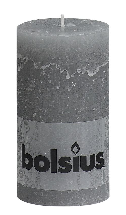 bolsius stompkaars rustiek lichtgrijs
