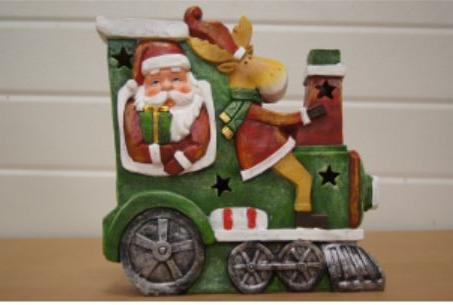 bp kerstman en rendier in trein